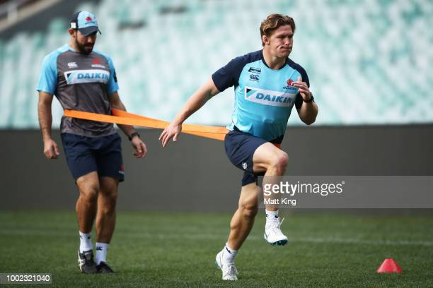 Ned Hanigan looks on during a Waratahs Super Rugby training session at Allianz Stadium on July 20 2018 in Sydney Australia