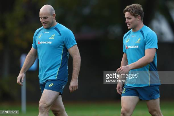 Michael Hooper the captain of Australia alongside Stephen Moore during the Australia rugby training session at Sport Wales on November 6 2017 in...