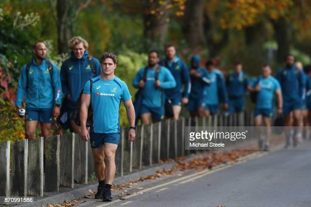 Michael Hooper the captain of Australia leads his squad to the Australia rugby training session at Sport Wales on November 6 2017 in Cardiff Wales