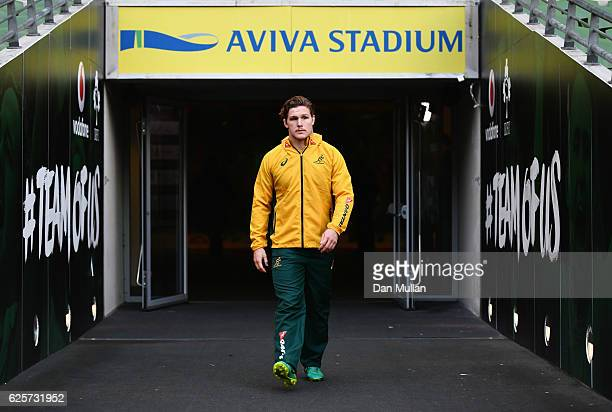 Michael Hooper walks out of the tunnel prior to the Australia Captain's Run on the eve of their international match against Ireland at Aviva Stadium...