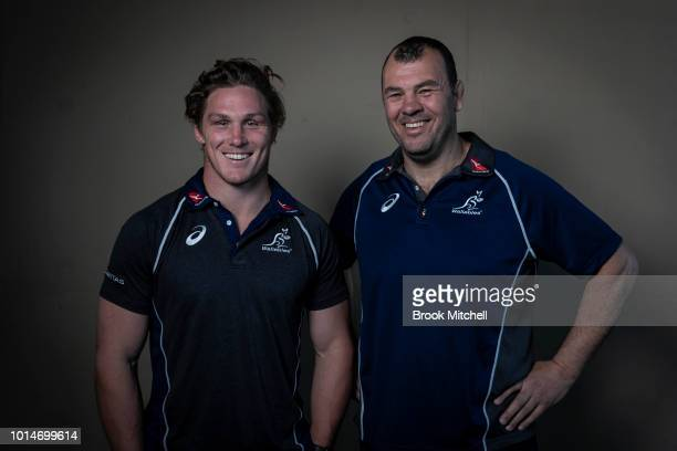 Michael Hooper with Michael Cheika during an Australian Wallabies media opportunity to announce Hooper's new contract at Rugby Australia HQ on August...