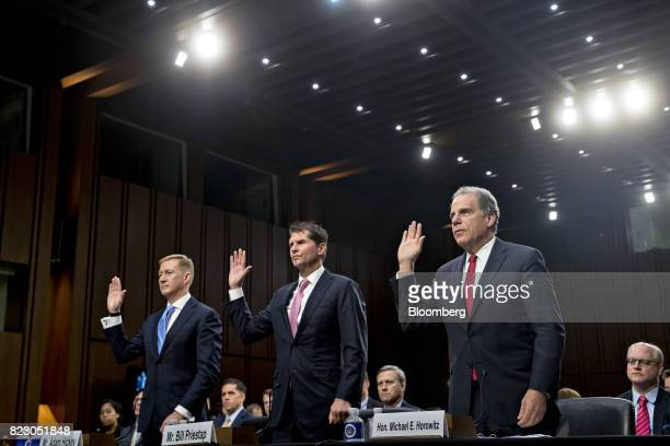 Michael Horowitz inspector general with the US Department Of Justice from right Bill Priestap assistant director of the counterintelligence division...