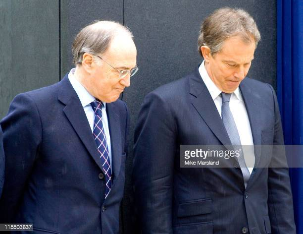 Michael Howard and Tony Blair attend the unveiling of the national police memorial designed by Sir Norman Foster Building work began on June 28 last...