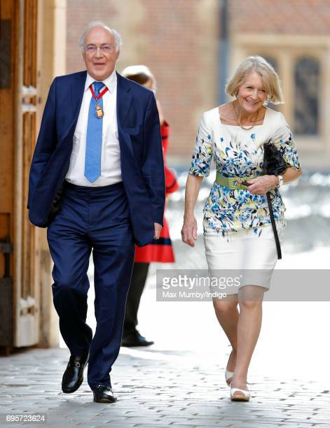Michael Howard Baron Howard of Lympne and Sandra Howard arrive to attend Evensong at the Chapel Royal Hampton Court Palace to celebrate the Centenary...