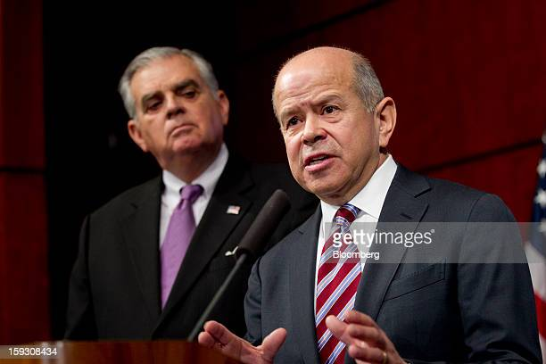 Michael Huerta administrator of the Federal Aviation Administration right speaks during a news conference with Ray LaHood US secretary of...