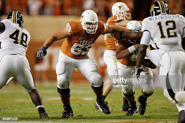Michael Huey of the Texas Longhorns blocks during the game against the Missouri Tigers on October 18 2008 at Darrell K RoyalTexas Memorial Stadium in...
