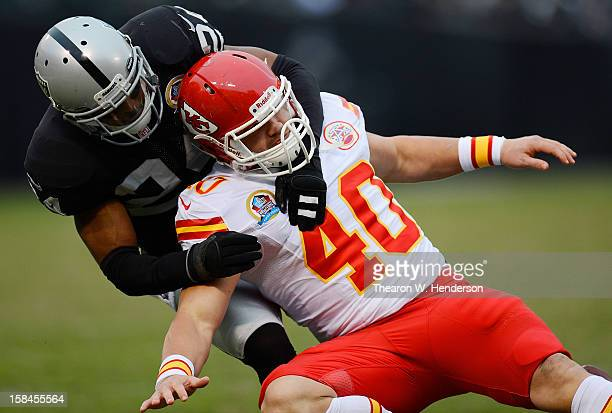 Michael Huff of the Oakland Raiders breaks up a pass to Peyton Hillis of the Kansas City Chiefs in the third quarter at OaklandAlameda County...