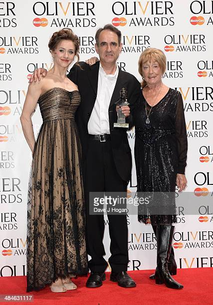 Michael Hulls with his Outstanding Achievement in Dance award with award presenters Marianela Nunez and Dame Gillian Lynne during the Laurence...