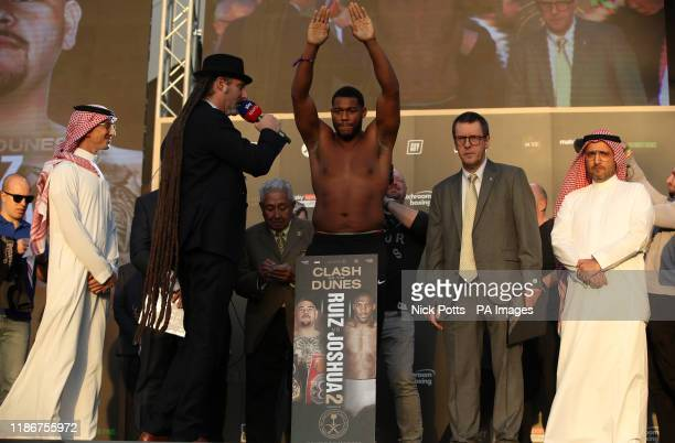 Michael Hunter during the weigh in at the Al Faisaliah Hotel in Riyadh Saudi Arabia