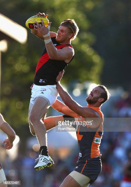 Michael Hurley of the Bombers marks during round three of the NAB Cup AFL match between the Greater Western Sydney Giants and the Essendon Bombers at...