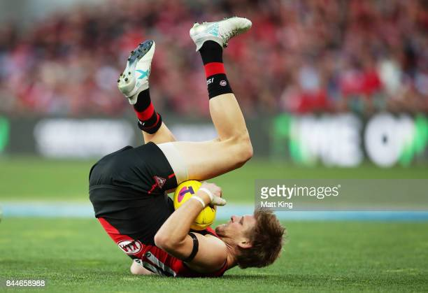 Michael Hurley of the Bombers takes a mark during the AFL Second Elimination Final match between the Sydney Swans and the Essendon Bombers at Sydney...