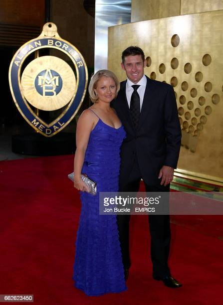 Michael Hussey and Amy Hussey arrive on the red carpet at the Crown Casino in Melbourne for the 2008 Allan Border Medal