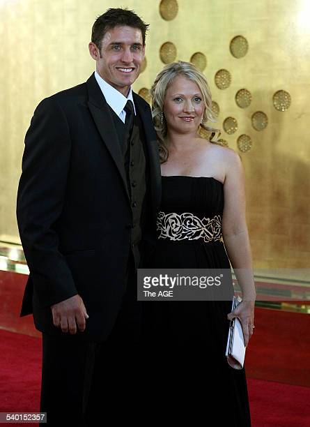 Michael Hussey and his wife Amy Hussey at the Allan Border Medal award ceremony at Crown Casino Melbourne 5 February 2007 THE AGE Picture by PAT SCALA