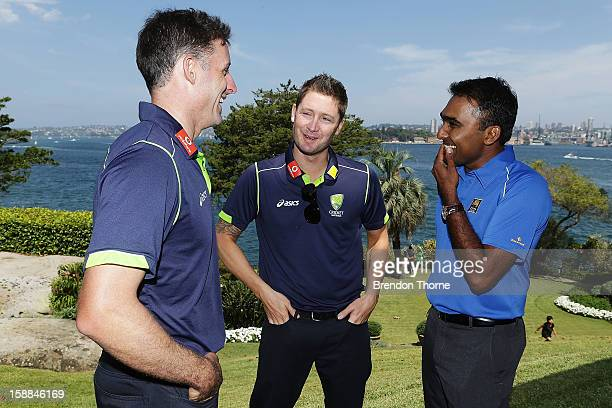 Michael Hussey and Michael Clarke of Australia share a joke with Mahela Jayawardene of Sri Lanka during a function at Kirribilli House on January 1...