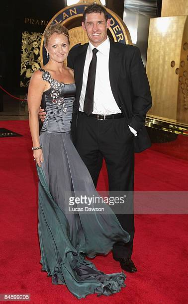Michael Hussey and partner Amy Hussey arrive at the 2009 Allan Border Medal at the Crown Casino February 3 2009 in Melbourne Australia