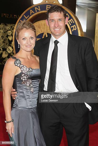 Michael Hussey and wife Amy Hussey arrive at the 2009 Allan Border Medal at the Crown Casino February 3 2009 in Melbourne Australia