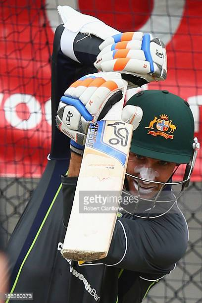 Michael Hussey of Australia bats during an Australian nets session at Blundstone Arena on December 13 2012 in Hobart Australia