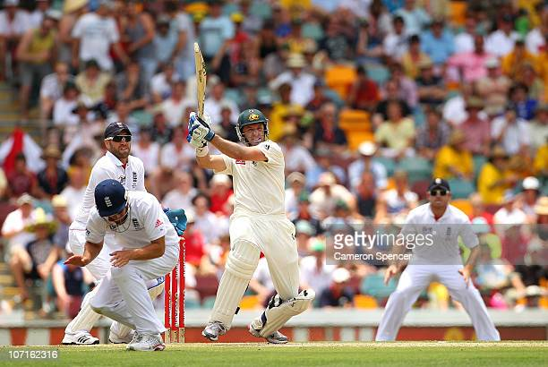 Michael Hussey of Australia bats during day three of the First Ashes Test match between Australia and England at The Gabba on November 27 2010 in...