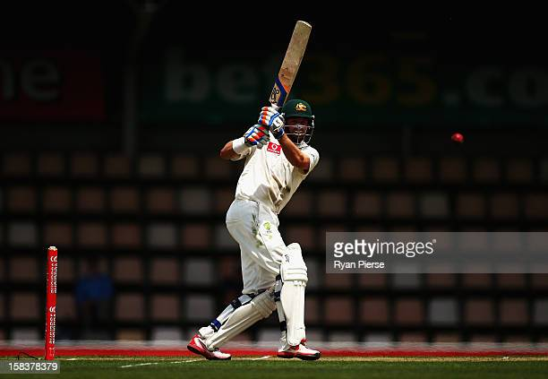 Michael Hussey of Australia bats during day two of the First Test match between Australia and Sri Lanka at Blundstone Arena on December 15 2012 in...