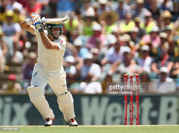 Michael Hussey of Australia bats during day two of the Third Test Match between Australia and South Africa at WACA on December 1 2012 in Perth...