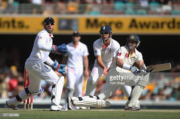 Michael Hussey of Australia hits out during day three of the First Ashes Test match between Australia and England at The Gabba on November 27 2010 in...