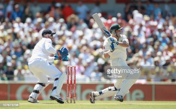 Michael Hussey of Australia hits out during day three of the Third Ashes Test match between Australia and England at the WACA on December 18 2010 in...
