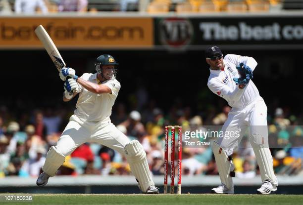 Michael Hussey of Australia hits out during day two of the First Ashes Test match between Australia and England at The Gabba on November 26 2010 in...