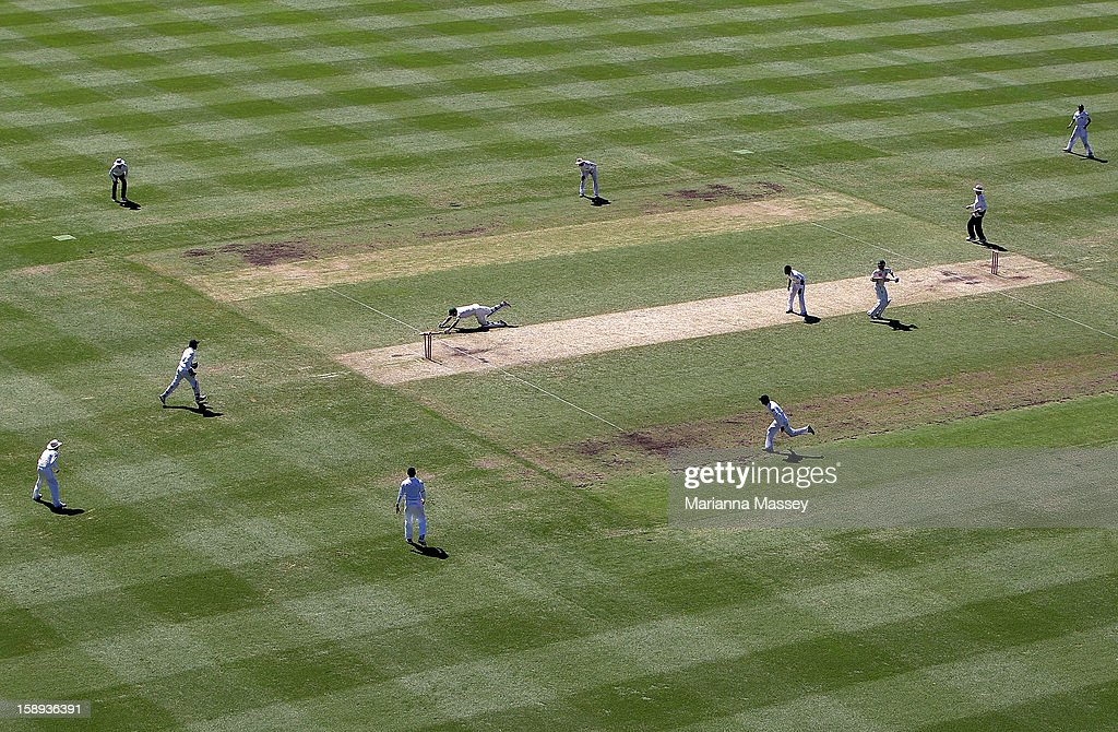 Michael Hussey of Australia is run out during his last test during day two of the Third Test match between Australia and Sri Lanka at Sydney Cricket Ground on January 4, 2013 in Sydney, Australia.