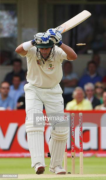 Michael Hussey of Australia leaves the ball and is bowled by Graham Onions of England during day two of the npower 3rd Ashes Test Match between...