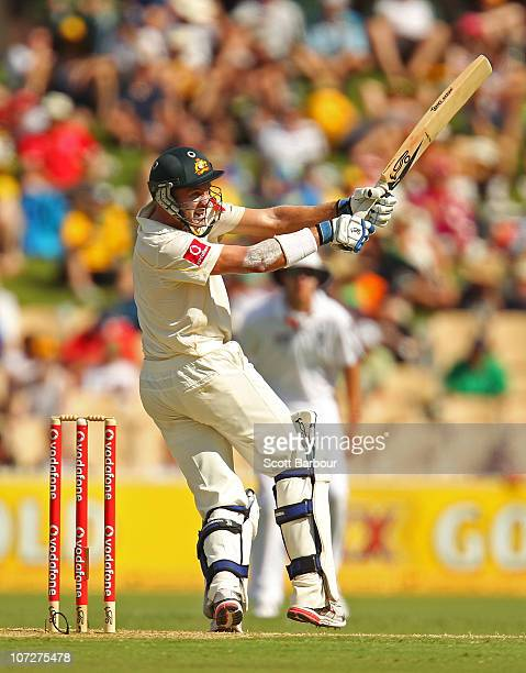 Michael Hussey of Australia plays a hook shot during day one of the Second Ashes Test match between Australia and England at Adelaide Oval on...
