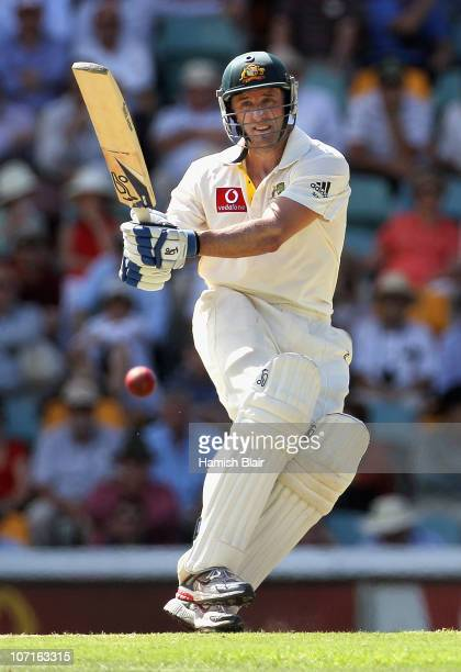 Michael Hussey of Australia pulls during day three of the First Ashes Test match between Australia and England at The Gabba on November 27 2010 in...