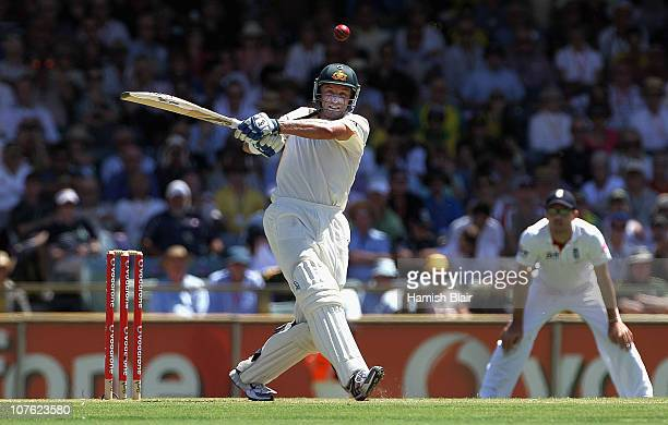Michael Hussey of Australia pulls for four during day one of the Third Ashes Test match between Australia and England at the WACA on December 16 2010...
