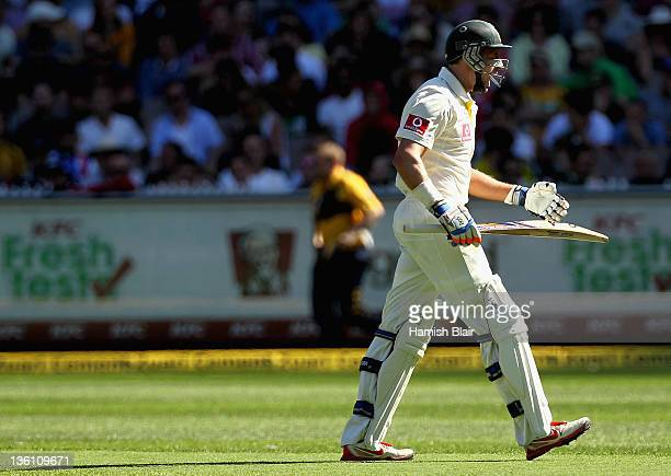 Michael Hussey of Australia shows his frustration after being dismessed during day one of the First Test match between Australia and India at...