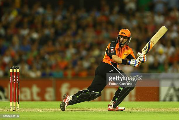 Michael Hussey of the Scorchers bats during the Big Bash League semifinal match between the Perth Scorchers and the Melbourne Stars at the WACA on...
