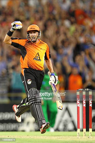 Michael Hussey of the Scorchers celebrate the teams win during the Big Bash League semifinal match between the Perth Scorchers and the Melbourne...