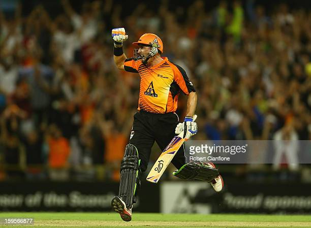 Michael Hussey of the Scorchers celebrates after he scored the winning run during the Big Bash League semifinal match between the Perth Scorchers and...
