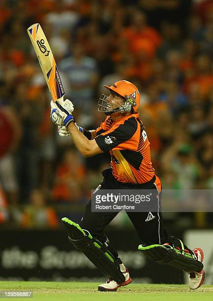 Michael Hussey of the Scorchers scores the winning run during the Big Bash League semifinal match between the Perth Scorchers and the Melbourne Stars...