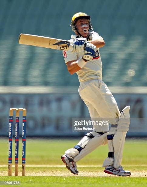 Michael Hussey of the Warriors bats during day three of the Sheffield Shield match between the Victorian Bushrangers and the Western Australia...