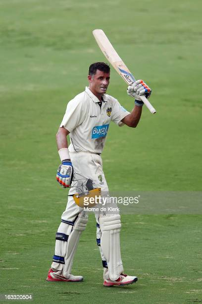 Michael Hussey of the Warriors leaves the field on 99 not out after day two of the Sheffield Shield match between the South Australian Redbacks and...