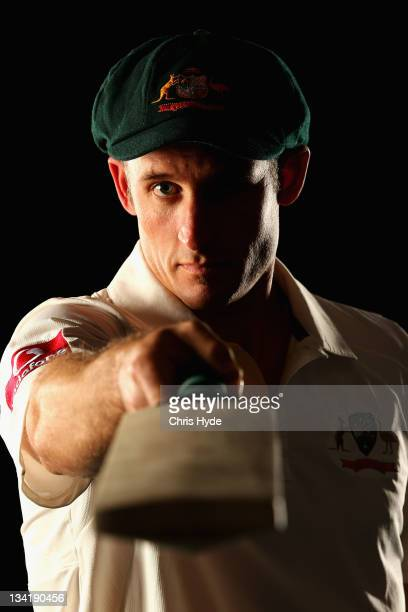 Michael Hussey poses during an Australian cricket player portrait session at the Hyatt Regency on July 24 2011 in Coolum Australia