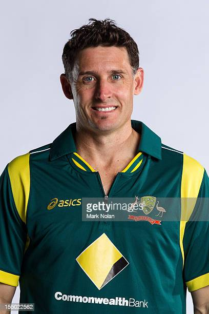 Michael Hussey poses during the official Australian One Day International cricket team headshots session on August 9 2012 in Darwin Australia