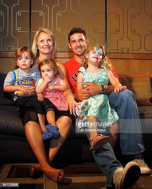 Michael Hussey poses with his wife Amy and their children Jasmin William and Molly during the Australian cricket team's Christmas lunch at Crown...