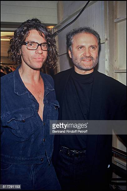 Michael Hutchence and Gianni Versace Backstage Versace Haute Couture fashion show fall winter 19921993 collection in Paris
