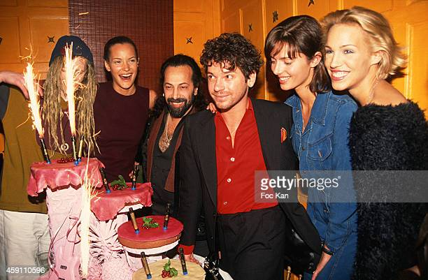 Michael Hutchence Heather Emma Sjoberg and guests attend a fashion week Party at Les Bains Douches in the 1990s in Paris France