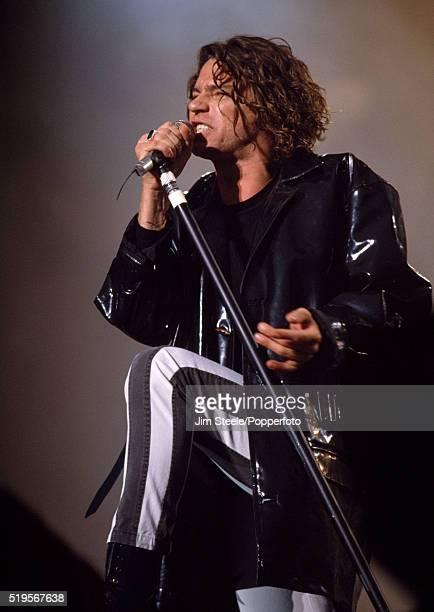Michael Hutchence of INXS performing on stage at the Wembley Stadium in London on the 29th October 1991