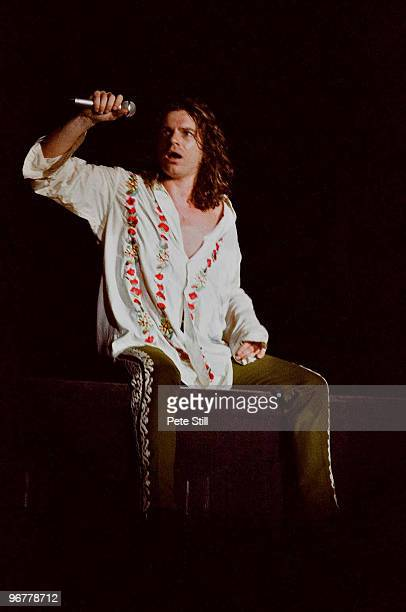 Michael Hutchence of INXS performs on stage on the 'Kick' tour at Wembley Arena on June 24th 1988 in London United Kingdom