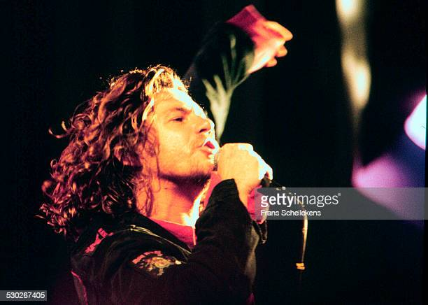 Michael Hutchence vocal performs with INXS at the Paradiso on May 25th 1993 in Amsterdam Netherlands