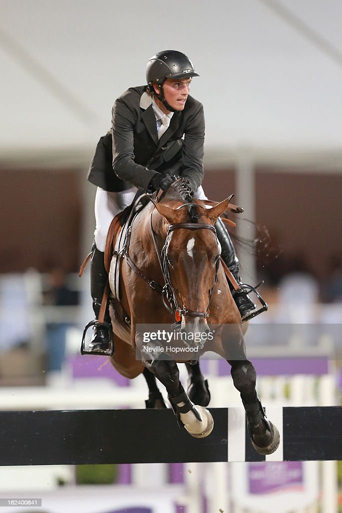 Michael Hutchinson of Ireland rides Le Roi during the President of the UAE showjumping Cup - Furusiyyah Nations Cup Series presented by Longines on February 22, 2013 in Al Ain, United Arab Emirates.