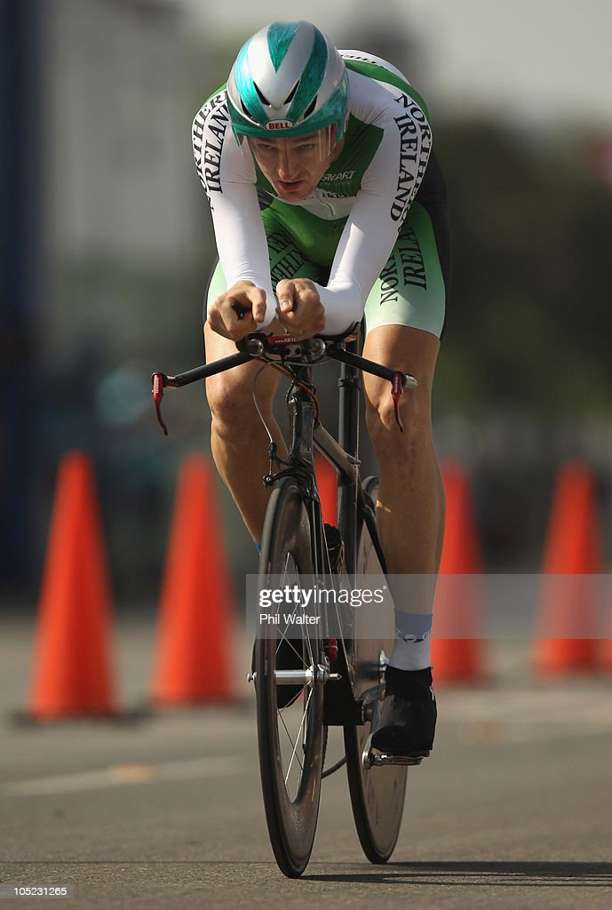Michael Hutchinson of Northern Ireland competes in the Individual Time Trial during day ten of the Delhi 2010 Commonwealth Games on October 13, 2010 in Delhi, India.