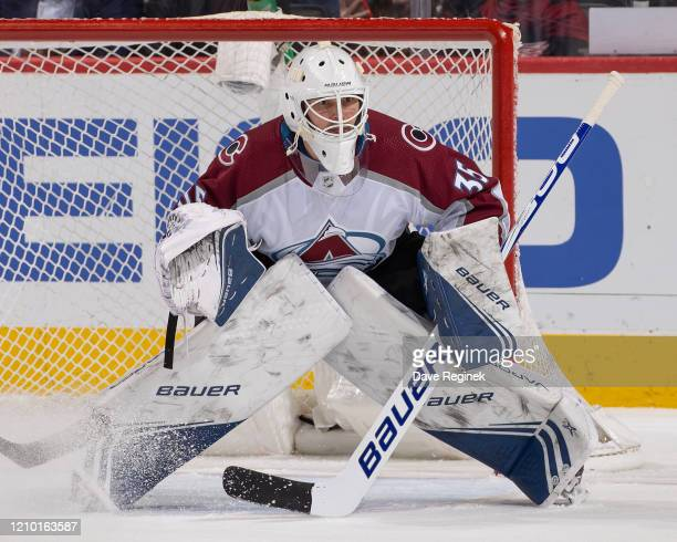 Michael Hutchinson of the Colorado Avalanche follows the play against the Detroit Red Wings during an NHL game at Little Caesars Arena on March 2...